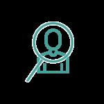 Icono lupa sobre cliente