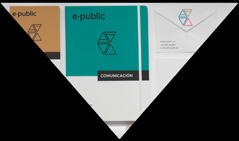 Portada Diseño de Marca e-public, muestra la papelería creada para la marca
